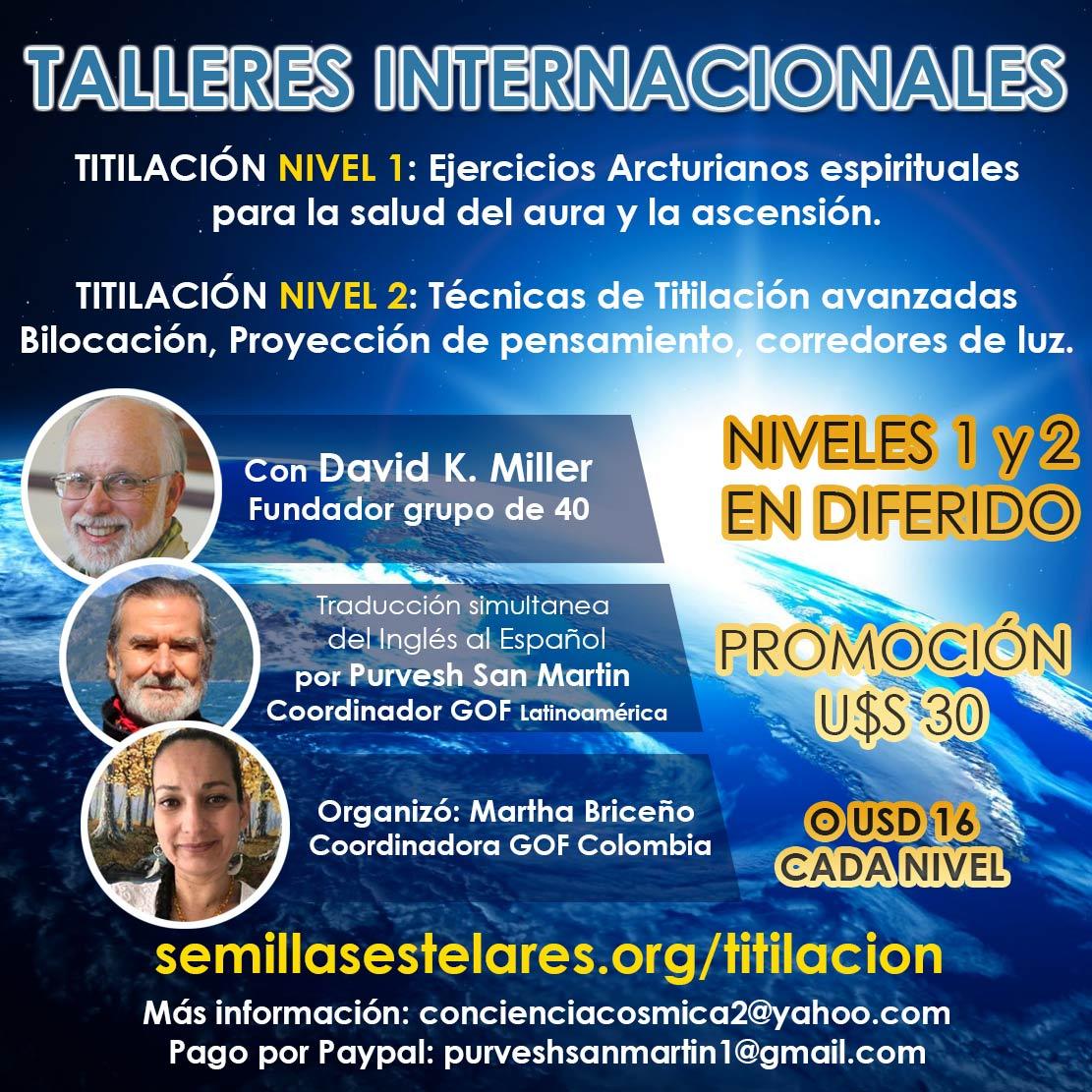 PROMOCIÓN TALLERES INTERNACIONALES DE TITILACIÓN con David Miller